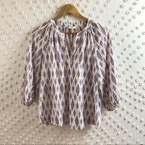 Joie 100% silk patterned passant top